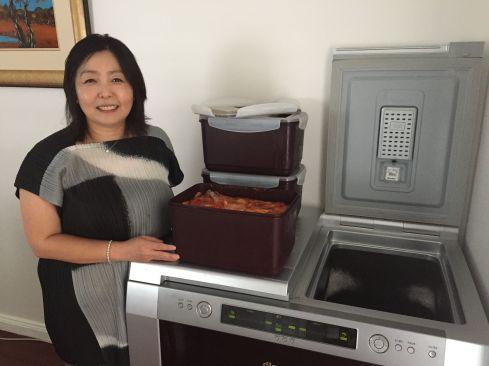 Heather Jeong with her Kimchi fridge