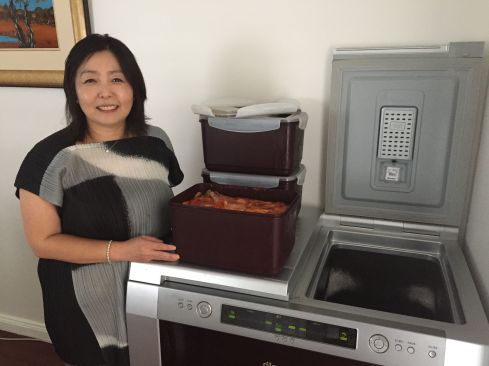 Heather Jeong with her Kimchi fridge